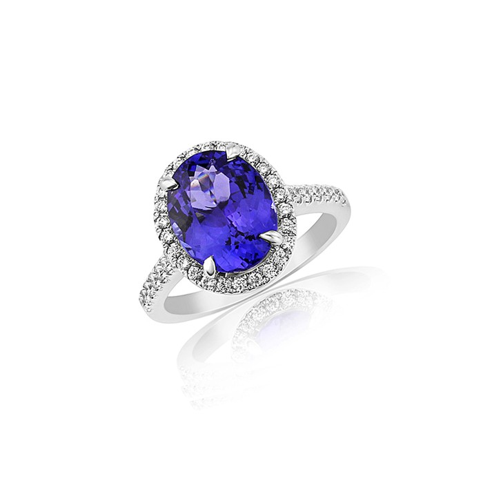 18ct White Gold Tanzanite & Diamond Dress Ring - T 3.61 D:0.51
