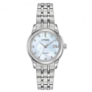 Citizen Ladies Diamond Set Stainless Steel Eco-Drive Watch - EW2