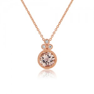 9ct Rose Gold Morganite & Diamond Pendant & Chain