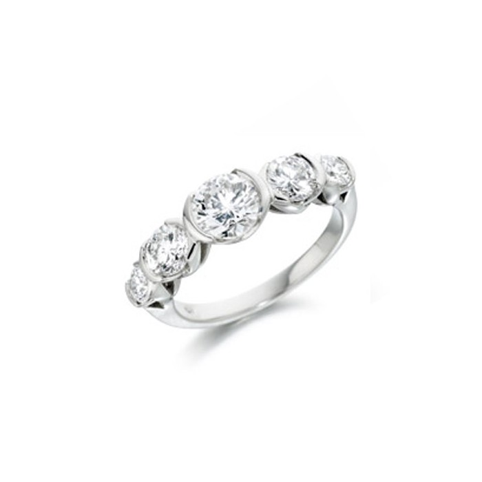 Graduated Platinum 5st Diamond Ring by Wharton - D:1.15cts