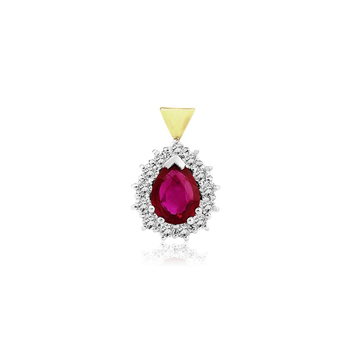 18ct Gold Ruby & Diamond Pendant - R 1.13  D 0.50ct