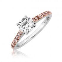 Platinum Diamond Ring With Pink Diamond Shoulders - 0.70 G/VS2