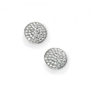 Sterling Silver Round CZ Pave Set Stud Earrings