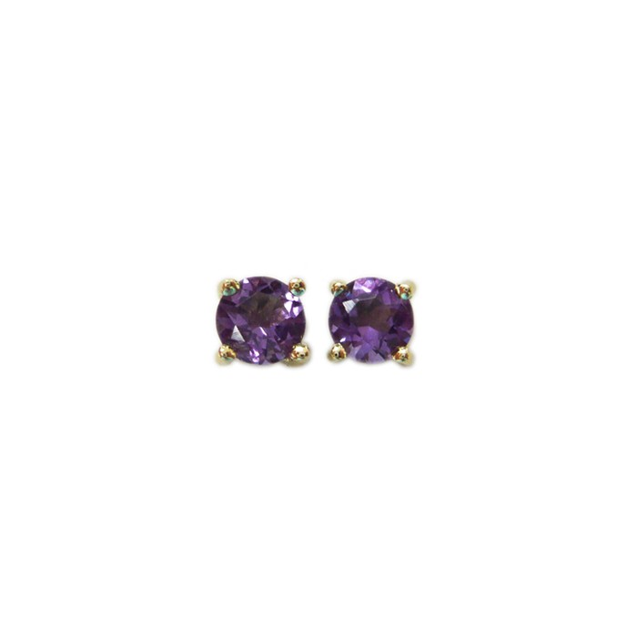 9ct Gold 5mm Amethyst Stud Earrings - 0.90cts