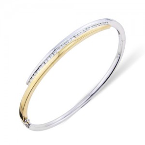 18ct Gold Two-tone Cross-over Diamond Set Bangle - 0.47cts