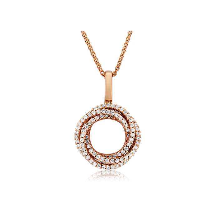 14ct Rose Gold Diamond Pearl Enhancer Pendant - D 0.48