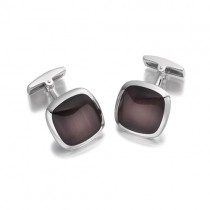 Hoxton London Brown Cats Eye Silver Cufflinks