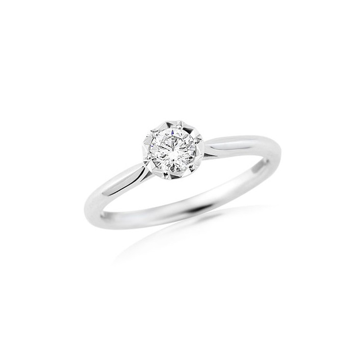 18ct White Gold Diamond Solitaire Ring - 0.33cts