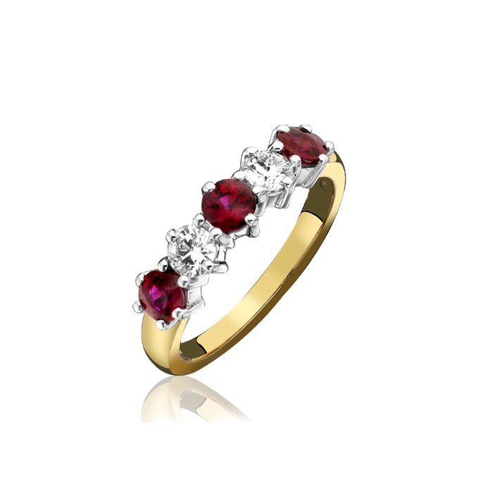 18ct Gold Ruby & Diamond Etrenity Ring - R 1.66 D 0.79