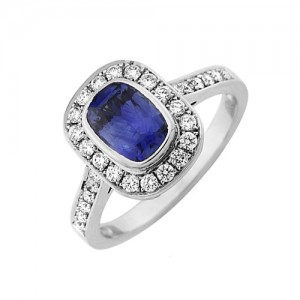 18ct White Gold Sapphire & Diamond Ring - S 1.18 D 0.34