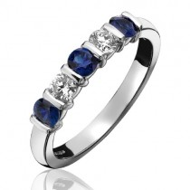 18ct White Gold Sapphire & Diamond Eternity Ring - S:1.42 D:0.76