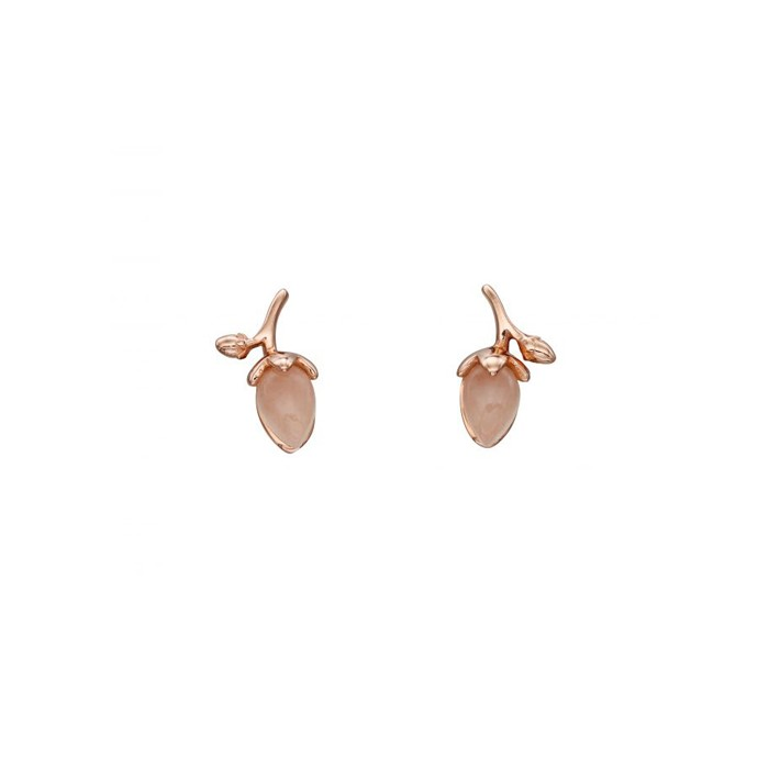 Rose Gold Plated Sterling Silver Rose Quartz Bud Earrings
