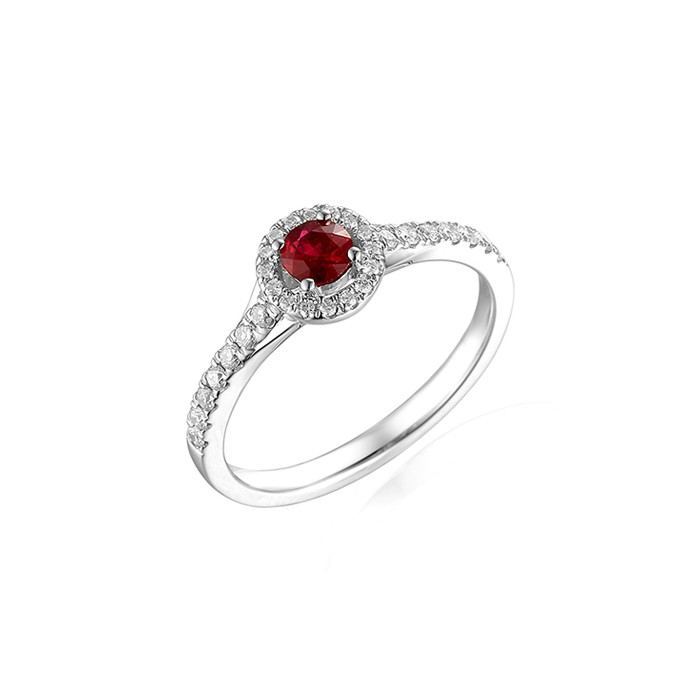 18ct White Gold Ruby & Diamond Halo Cluster Ring - R 0.18 D 0.17