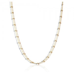 Tri-colour Gold Vermeil Endless Long  Necklace - MME0134