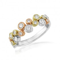 18ct Gold Two Row Diamond Scatter Bubbles Ring - 0.47