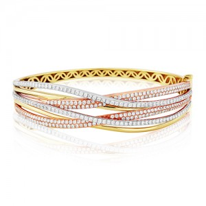 18ct Three Colour Gold Diamond Wave Bangle - 2.68cts