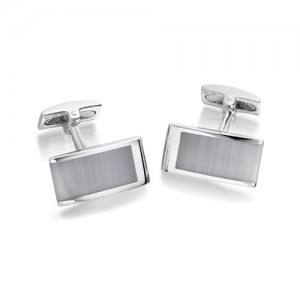 Hoxton London Rectangular Cats Eye Silver Cufflinks