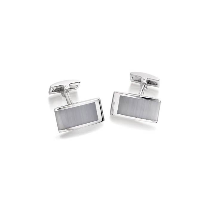 Hoxton London Rectangular Cats Eye Sterling Silver Cufflinks