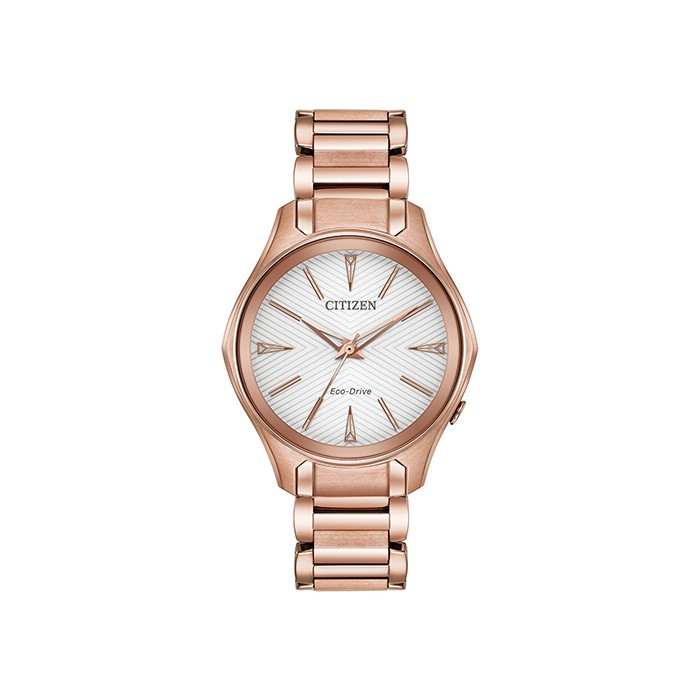Citizen Ladies Eco-Drive Rose Gold Plated Stainless Steel Watch