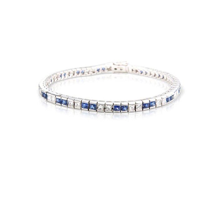 18ct White Gold Diamond & Sapphire Bracelet - S:2.98 D:2.26