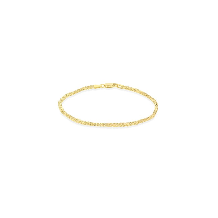 9ct yellow Gold Mini Square Section Byzantine Link Bracelet
