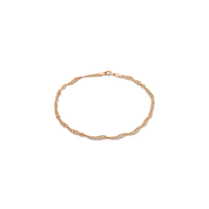 9ct Rose Gold Fine Twisted Curb Link Bracelet