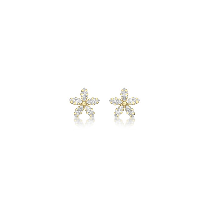 9ct Gold CZ Marquise Flower Stud Earrings