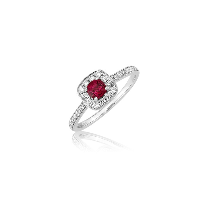 18ct Gold Ruby & Diamond Cluster Ring - R 0.35 D 0.25