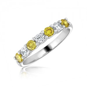 Platinum Natural Fancy Yellow & White Diamond  Ring - 0.71ct