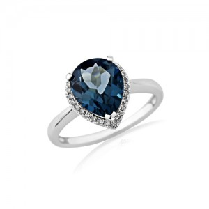 London Blue Topaz & Diamond Dress Ring in 9ct White Gold