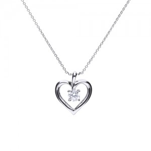 Diamonfire Open Heart CZ Pendant - 65/1419/1/082