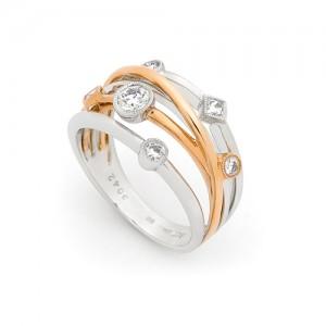 18ct Rose & White Gold Diamond Multi Strand Ring - 0.42