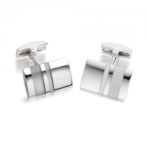 Hoxton London Silver Rectangular Catseyes Cufflinks