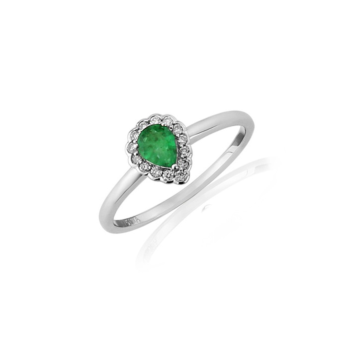 9ct White Gold Emerald & Diamond Ring - 0.09cts