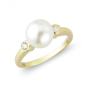 9ct Gold Cultured Pearl and Diamond Dress Ring - 0.10ct