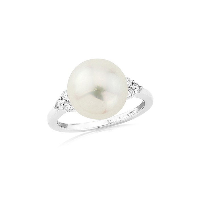 18ct White Gold South Sea Pearl & Diamond Ring - 0.18cts 11mm