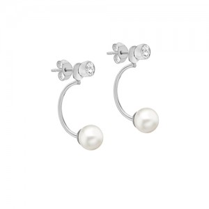 Sterling Silver CZ And Pearl Jacket Stud Earrings