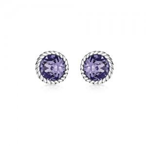 Sterling Silver Purple Swarovski Crystal Stud Earrings