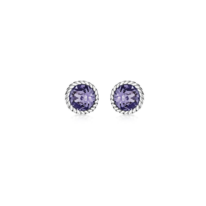 Sterling Silver Purple Swarovski Crystal Stud Earrings