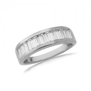 9ct White Gold CZ Channel Set Ring