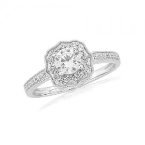 9ct White Gold CZ Vintage Dress Ring