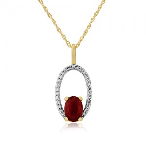 9ct Gold Ruby & Diamond Pendant & Chain
