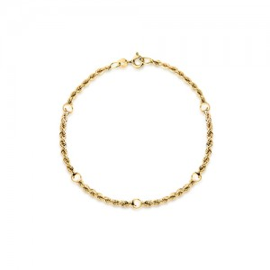 9ct Yellow Gold Ball And Rope-Twist Link Bracelet