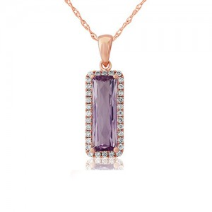 9ct Rose Gold Rose De France Amethyst & Diamond Pendant - 0.15