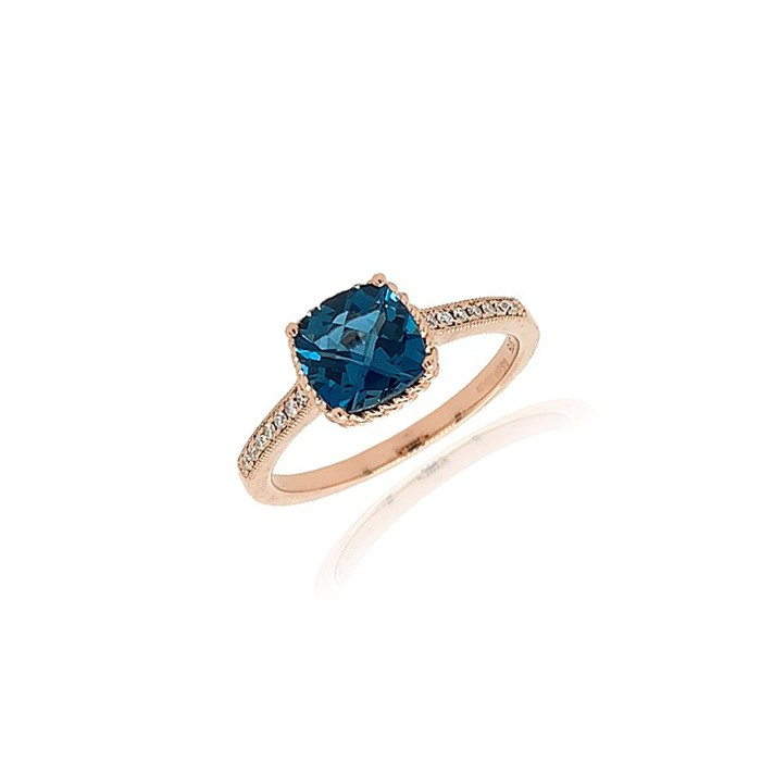 9ct Rose Gold London Blue Topaz & Diamond Dress Ring