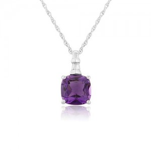 9ct White Gold Cushion Cut Amethyst & Diamond Pendant