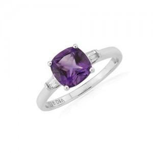 9ct White Gold Cushion Cut Amethyst & Diamond Ring