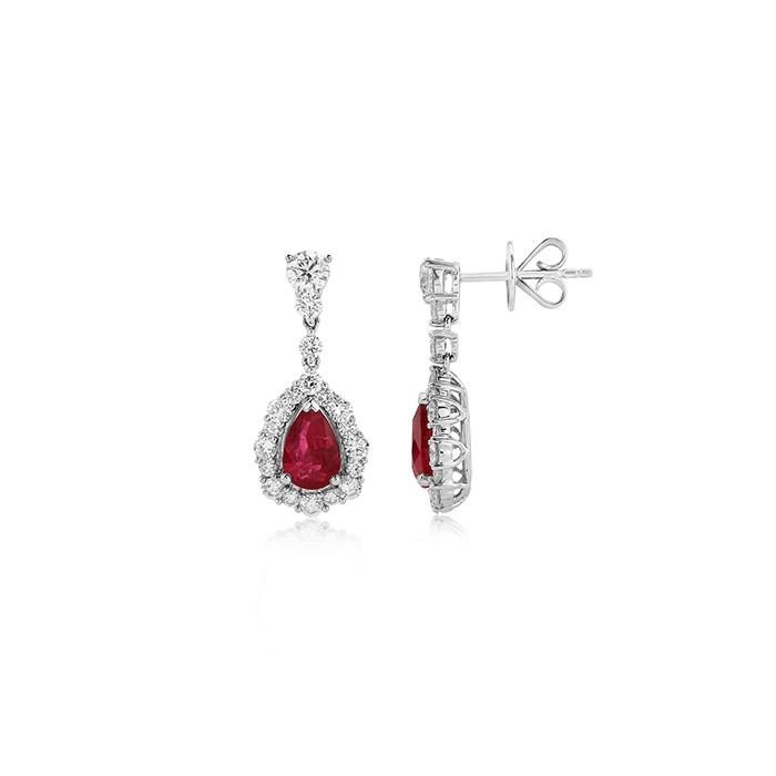 18ct White Gold Ruby & Diamond Drop Earrings - R 2.23 D:1.65