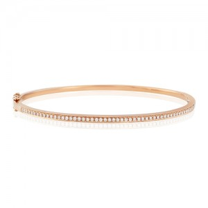 9ct Rose Gold Diamond Set Bangle - 0.36