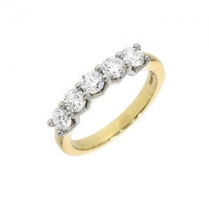 18ct Gold 5st Diamond Eternity Ring - 0.96cts